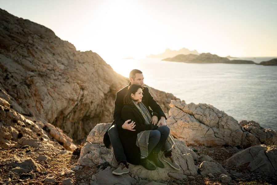 shooting photo couple calanques de Marseille les goudes